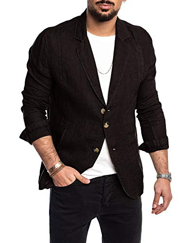 Mens Linen Suit Blazer Lightweight Three-Buttons Casual Solid Tailored Fit Sport Jacket