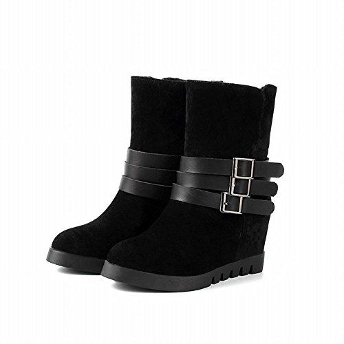 Carolbar Donna Moda Multi Fibbia Semplice Caldo Inverno Con Zeppa Stivali Abito Nero