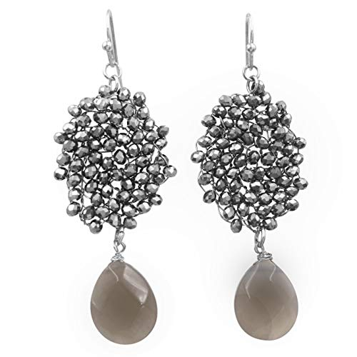 Abstract Glass Bead Wire Cluster Handmade Swing Dangle Boutique Style Earrings (Hematite Grey Oval Teardrop)