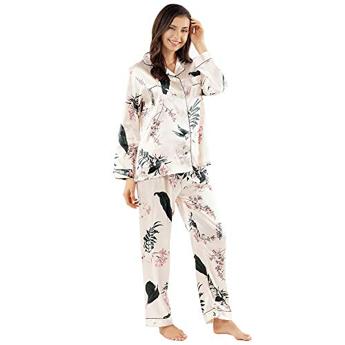 GAESHOW Women's Satin Silk Pajamas Set Long Sleeve Button-Down Pj Set Sleepwear Nightwear Loungewear Two Piece Pj Sets (L, Pink 2)