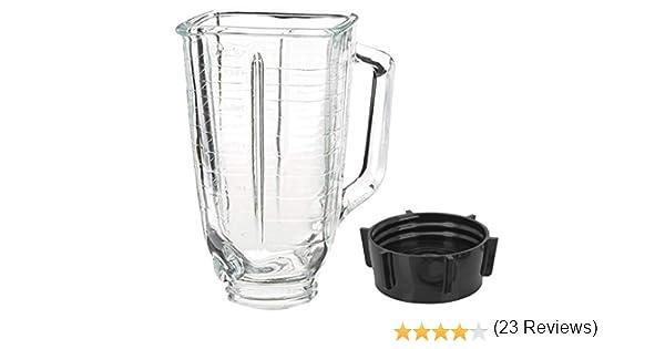 Juego de tarros de cristal y tapa de base de 5 tazas, cuadrados, compatible con licuadora Oster: Amazon.es: Hogar