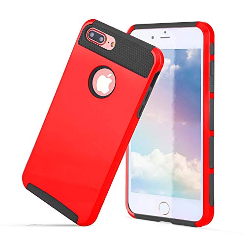 Compatible with iPhone 8/7 case,Heavy Duty Slim Shockproof Drop Protection 2 in 1 Hybrid Hard PC Heavy Duty Anti Slip Covers Soft Rubber Bumper Protective Case Cute-Red