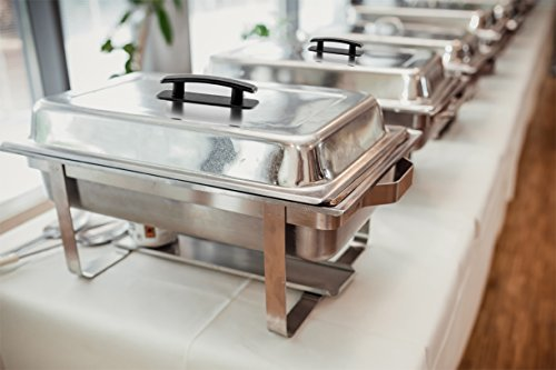 41eIZ43 EwL - TigerChef 8 Quart Full Size Stainless Steel Chafer with Folding Frame and Cool-Touch Plastic on top - includes 2 Free Chafing Gels and Slotted Serving Spoon (3, 8 Quart Chafer)