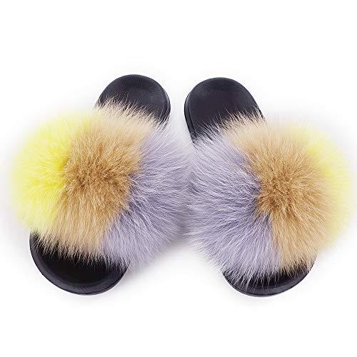 Single Women Vegan On Vesa Slip Open Color Real Fur Toe 14 Feather Sandals Mixed Strap Leather Manka Fox UvcqHH5