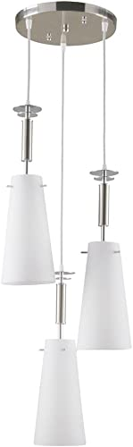 Hampton Bay 3-Light Brushed Nickel Ceiling Mini Pendant with Etched White Glass