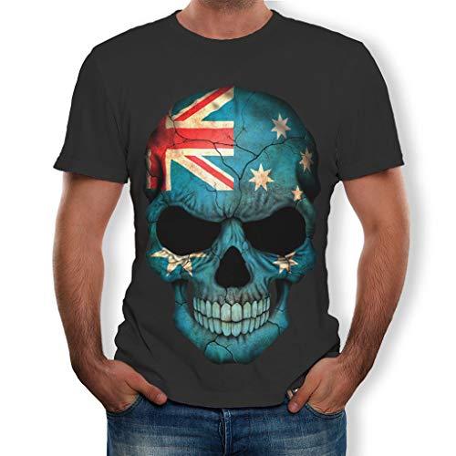 3D Printing Skull Tops Fashion Mens Splash-ink Shirt Short Sleeve T-Shirt -