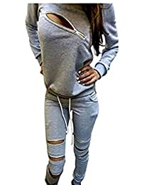 Q&Y Women's Asymmetric Zip Sweatsuits Tracksuits Sports Outfits Set
