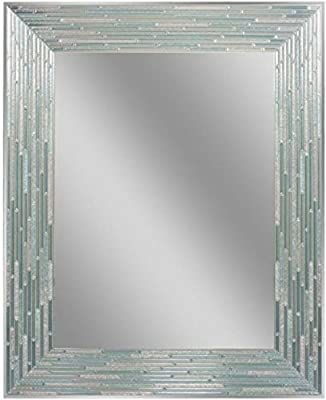 "Headwest Reeded Sea Glass Wall Mirror, 24"" x 30"""