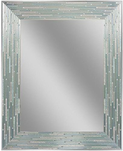 (Headwest Reeded Sea Glass Wall Mirror, 24 inches by 30 inches, 24