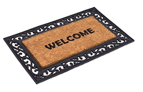 BirdRock Home Classic Welcome Brush Coir Doormat with Black