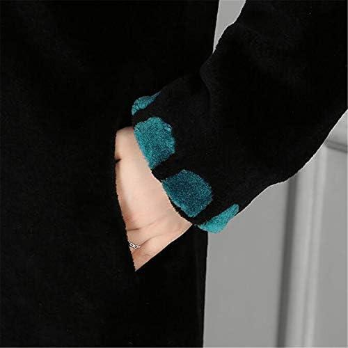 BABIFIS Hiver Naturel réel Manteau de Fourrure Femmes Couleur Bloc épais Longueur de Plancher Femmes Manteau en Peau de Mouton Mouton Manteau de Fourrure Green M