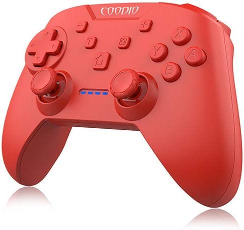 COODIO Mando Pro Controller Para Nintendo Switch, Mando Inalámbrico Switch, Wireless Bluetooth Controller Función de vibración Turbo Accesorio Para Ninendo Switch, Rojo: Amazon.es: Videojuegos