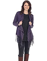 Jess & Jane Womens Eggplant Mineral Washed Cotton Fringe Cardigan Jacket