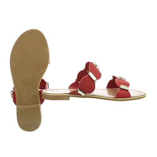 Ital-Design Pantoletten Damenschuhe Blockabsatz Sandalen & Sandaletten Rot P-720