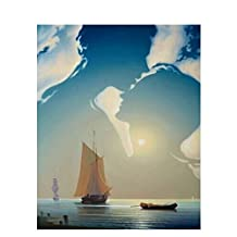 Paint-by-numbers Kits for Adults DIY Digital Oil Painting Coloring on Canvas Hand Painted Painting By Handmade – Couple Embracing Over The Sea 16x20 Inch with Brushes and Pigment