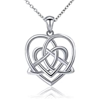 ATHENAA S925 Sterling Silver Good Luck Irish Celtic Knot Triangle Vintage Love Heart Pendant Necklace, 18 inches