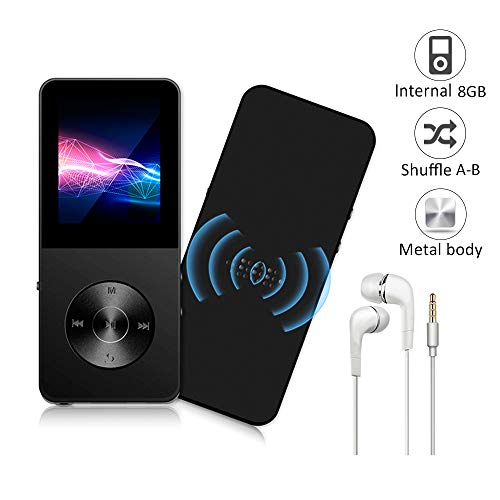 Mp3 Player, Widon 16GB Mp4 Player up to 64GB Metal Body Built-in Speaker Headphones Shuffle A-B Playback Bookmark for Audio Books - FM Radio Voice Recorder Gift for Kids Language Learning Black