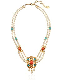 """Santorini Turquoise Coral Stone Pearl Strand Gold Pendant Necklace, 16"""" + 2"""" Extender"""