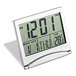 Whitelotous Folding Ultrathin LCD Thermometer Calendar Alarm Clock Digital Birthday Reminder Clocks Home Gifts