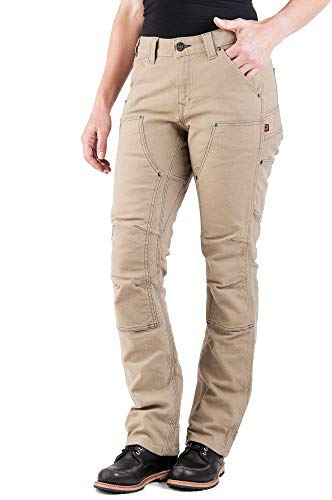 Dovetail Workwear Pants for Women: Britt Utility Straight Fit Stretch Carpenter Pant, Natural Canvas, Size 4, 32