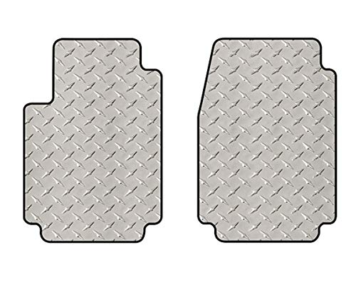 Intro-Tech DD-136F-DP Diamond Plate Front Row 2 pc. Custom Fit Floor Mats for Select Dodge Challenger Models - Simulated Aluminum, Silver ()