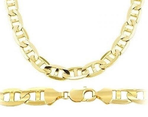 Mens Chain 14k Yellow Gold Necklace Solid Mariner Link Large 7.7mm , 22 inch