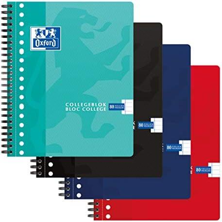 [Gesponsert]Oxford 400075588 Collegeblock 5er Pack 4 Farben A5+ Liniert 17 Löcher 160 Seiten 90g Flexibler Kartondeckel