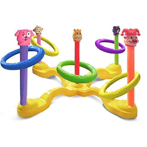 Gamie Animal Ring Toss Game for Kids | Colorful Throwing Carnival Game | Classic Birthday Party Activity/Backyard Tossing Game for Boys and Girls | Indoor and Outdoor Fun -