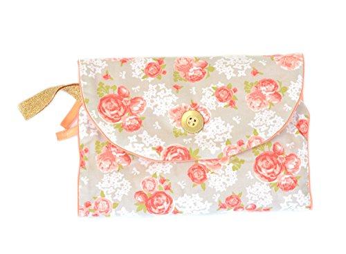 Glorious Lou cambiador pequeño para viajes–�?6x 16cm–de 100% algodón bio–Colección Peach Amapolas