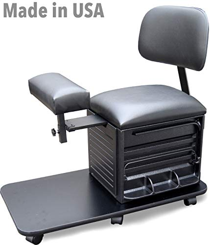 2318-SHF Salon Spa Pedicure Station Stool with Footrest & Back Support by Dina Meri