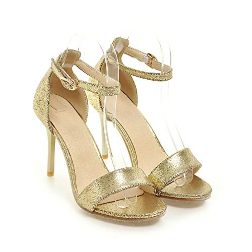 Summer-lavender high Thin Cover Heels Buckle Strap Heel Height 9.5 cm Elegant Casual Women's Sandals,Golden,6