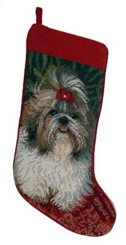 Black & White Shih Tzu Dog Needlepoint Christmas Stocking by ED by DE