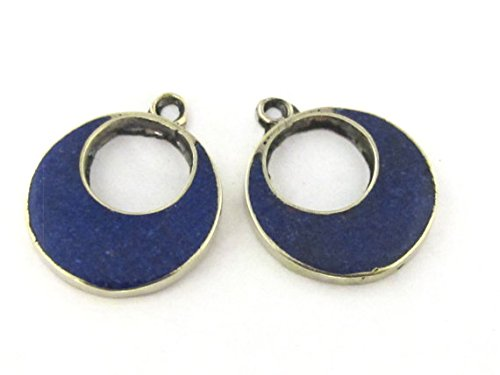 - 2 pieces - Tibetan silver donut disc shape charm pendants with lapis inlay - PM512A