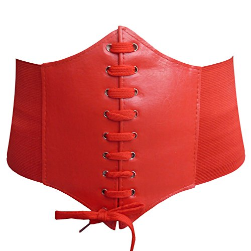 HOEREV Elastic Wide Band Elastic Tied Waspie Corset Waist Belt,Large,Red