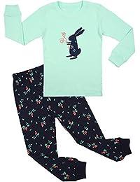 BOOPH Girls Pajamas 2 Piece Deer Long Sleeve Pajama Set 100% Cotton Size2T-7T