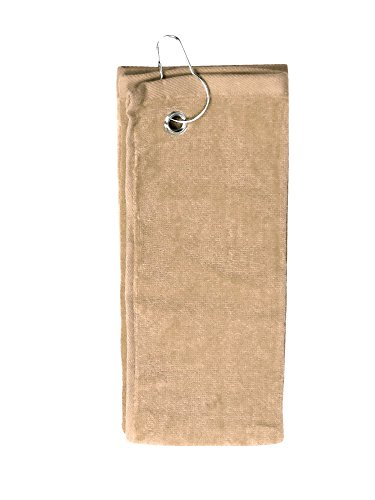 Simplicity 100% Cotton Terry Sports Golf Towel w/Grommet Hook Side Hook_Taupe