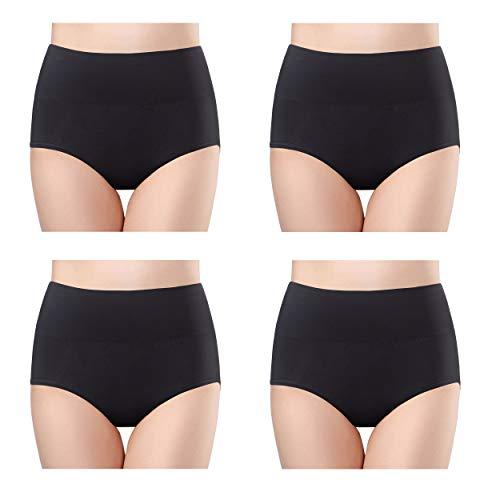 Fidus Women's 4 Pack High Waist Tummy Control Cotton Briefs Underwear Soft Stretch Breathable Comfortable Panties 4B-S