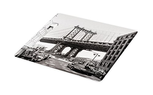 Ambesonne Landscape Cutting Board, Brooklyn New York Usa Landmark Bridge Street with Cars Photo, Decorative Tempered Glass Cutting and Serving Board, Large Size, Black White and Charcoal Grey (Brooklyn New Used York Cars)