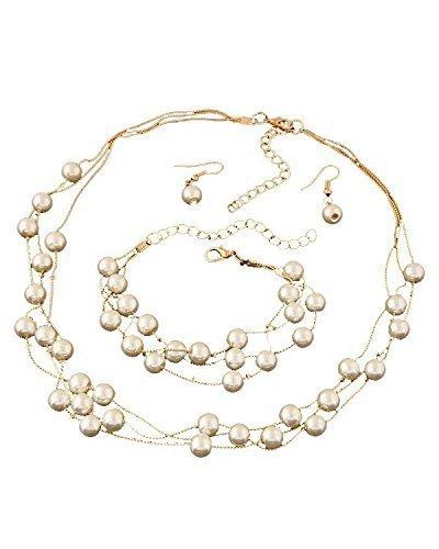 Buy Shining Diva Fashion Pearl Jewellery Set For Women White