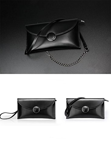 Party Qqb095 Clutch Handbag Women Black Purse Soft Bags Leather Dissa OvAqHx