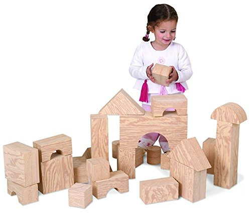 Edushape Big Wood-like Blocks, 32 Piece Foam Wooden Blocks