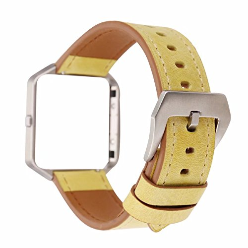 Fitbit Blaze Leather Bands with Metal Frame, Soft Genuine Leather Wristband Fitbit Blaze Replacement Watch Band Fitness Strap for Women Men (Yellow) ()