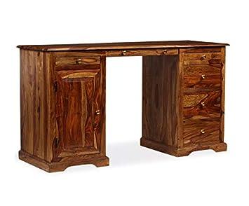Antique Pedestal Desk Large Writing Table Vintage Office Furniture
