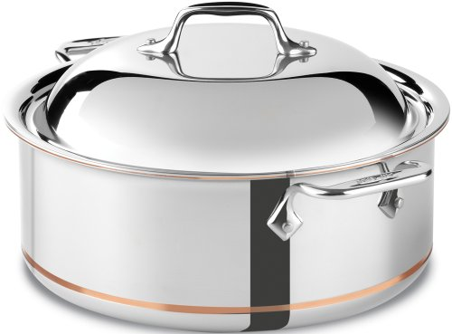 All-Clad 650618 SS Copper Core 5-Ply Bonded Dishwasher Safe Round Roaster / Cookware, 6-Quart, - Copper Steel Oven Stainless Dutch