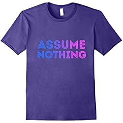 Mens Assume Nothing Bisexual Flag Colors Bi Pride Funny Tee 2XL Purple
