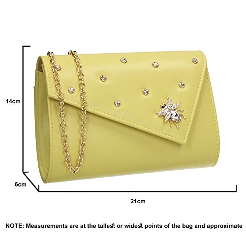 Ladies Evening Wedding Celebrity SWANKYSWANS Nylah Out Party Clutch Night Butterfly Bag Prom Yellow Stud xqzqvHg