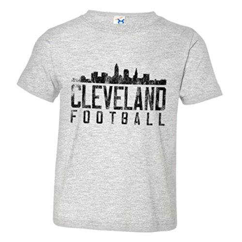PleaseMeTees Toddler Cleveland Football Distresed Browns Skyline HQ Tee-Grey-2