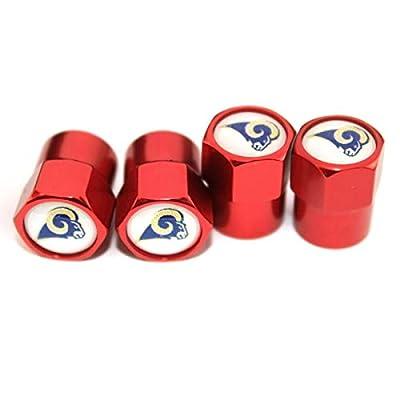 auto Parts 4 Pcs/Set Red Aluminum Tire Valve Stem Cap with Rugby Team Logo Style, Aluminum Tire Wheel Stem Air Valve Caps for Auto Car Motorcycle Bicycle (Los Angeles Rams): Automotive