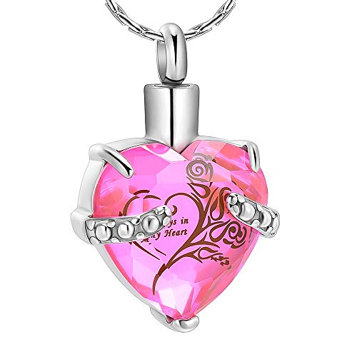 constantlife Crystal Heart Shape Cremation Jewelry Memorial Urn Necklace for Ashes, Stainless Steel Ash Holder Pendant Keepsake with Gift Box Charms Accessories for Women (Pink + Black) (Personalized Best Friend Lockets)