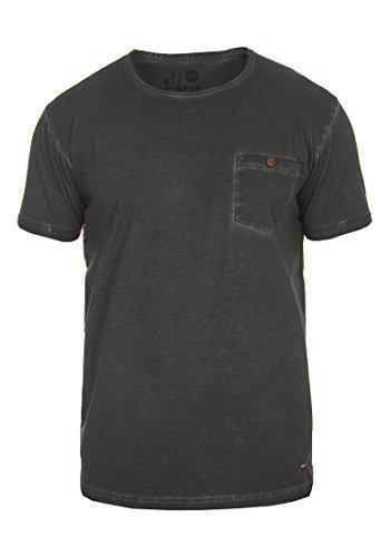 solid Cuello De Manga Básica 9000 Algodón Hombre Corta Black 100 Redondo Camiseta shirt Con T Teil Para rn4xAr